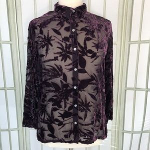 Chicos Button Front Blouse Velvet Sheer Burn Out
